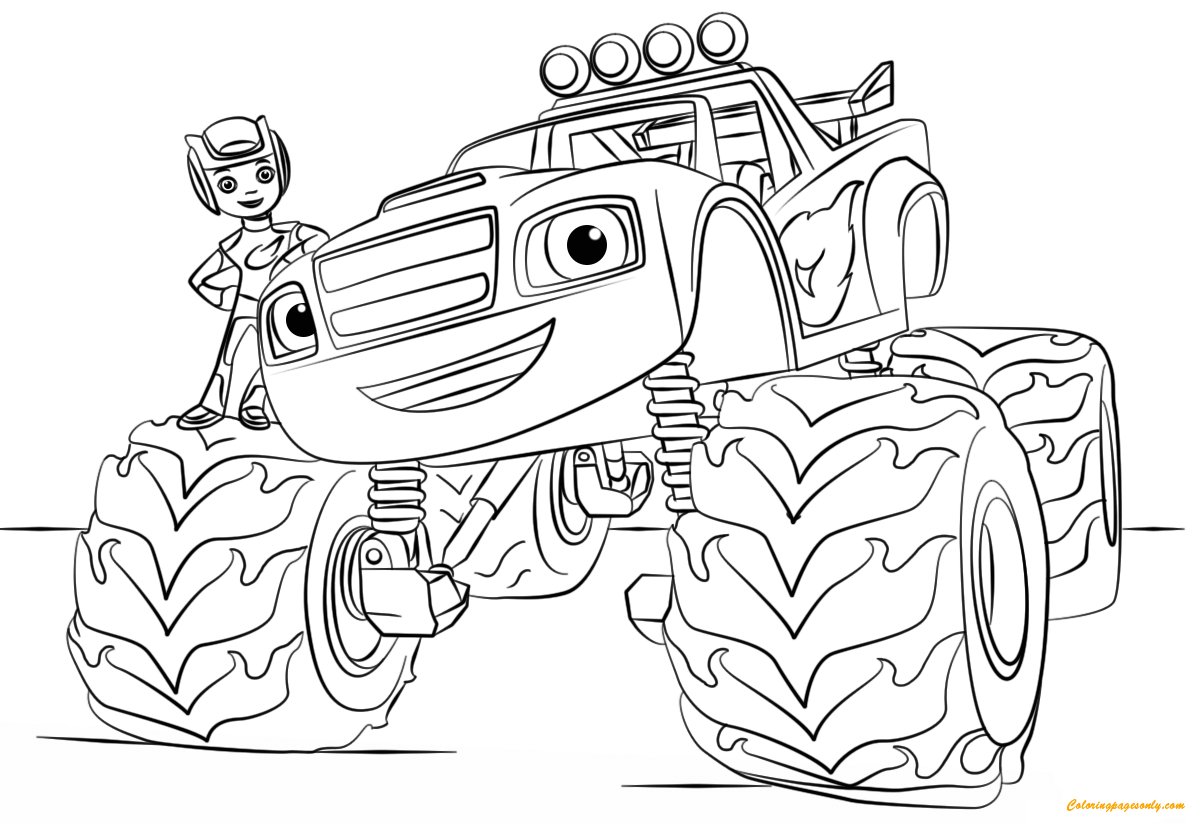 Blaze From Monster Truck Coloring Page Free Coloring Pages Online
