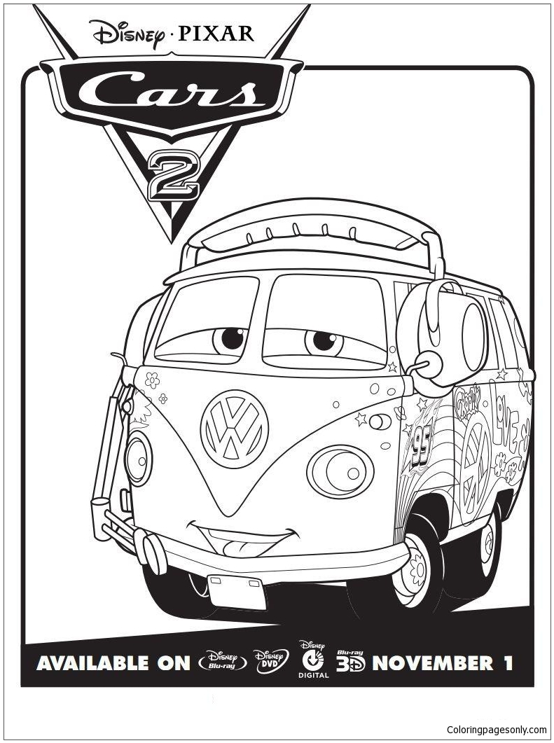 Disney Cars 2 Fillmore Coloring Page Free Coloring Pages Online