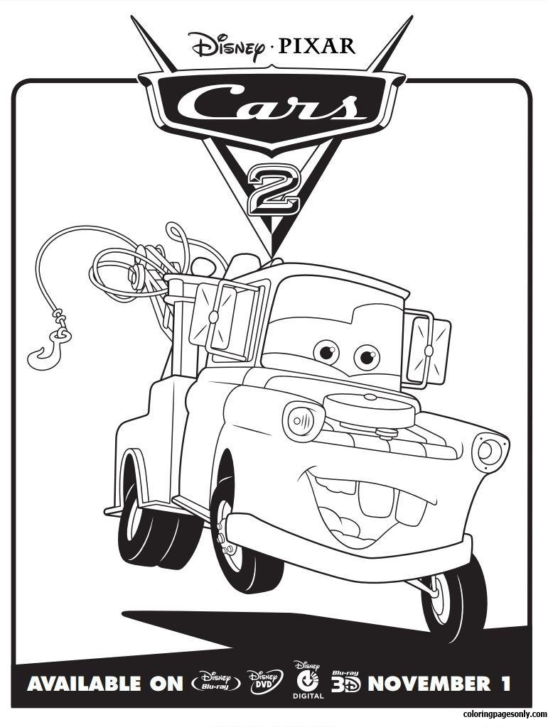 Disney Cars 2 Mater Coloring Page Free Coloring Pages Online