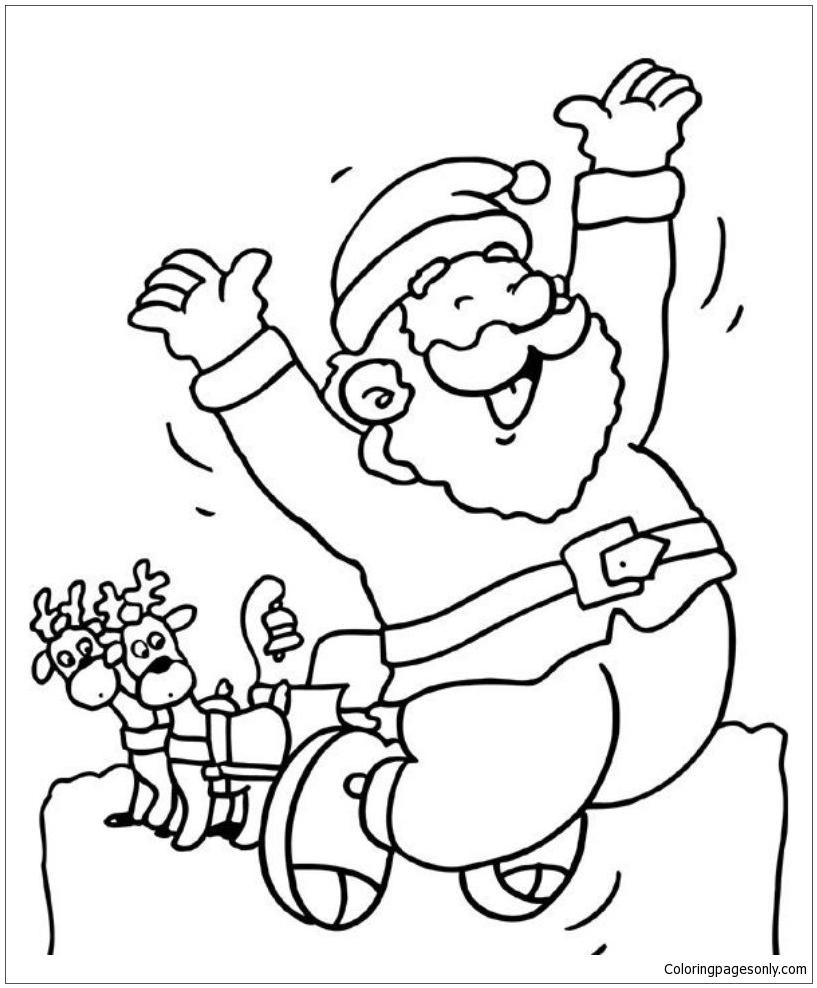 santa kneeling by baby jesus coloring page