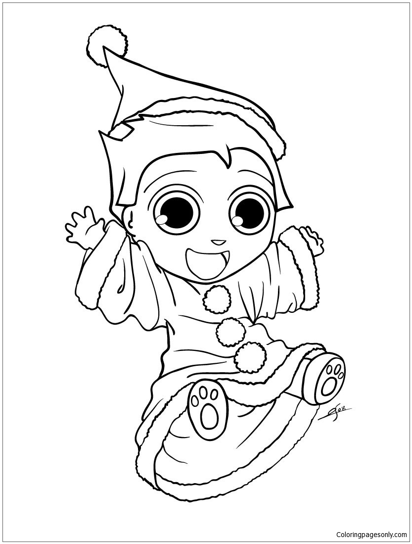 Happy Xmas Elf Coloring Page Free Coloring Pages Online