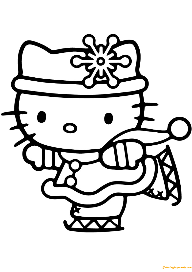 Hello Kitty Skating Coloring Page Free Coloring Pages Online