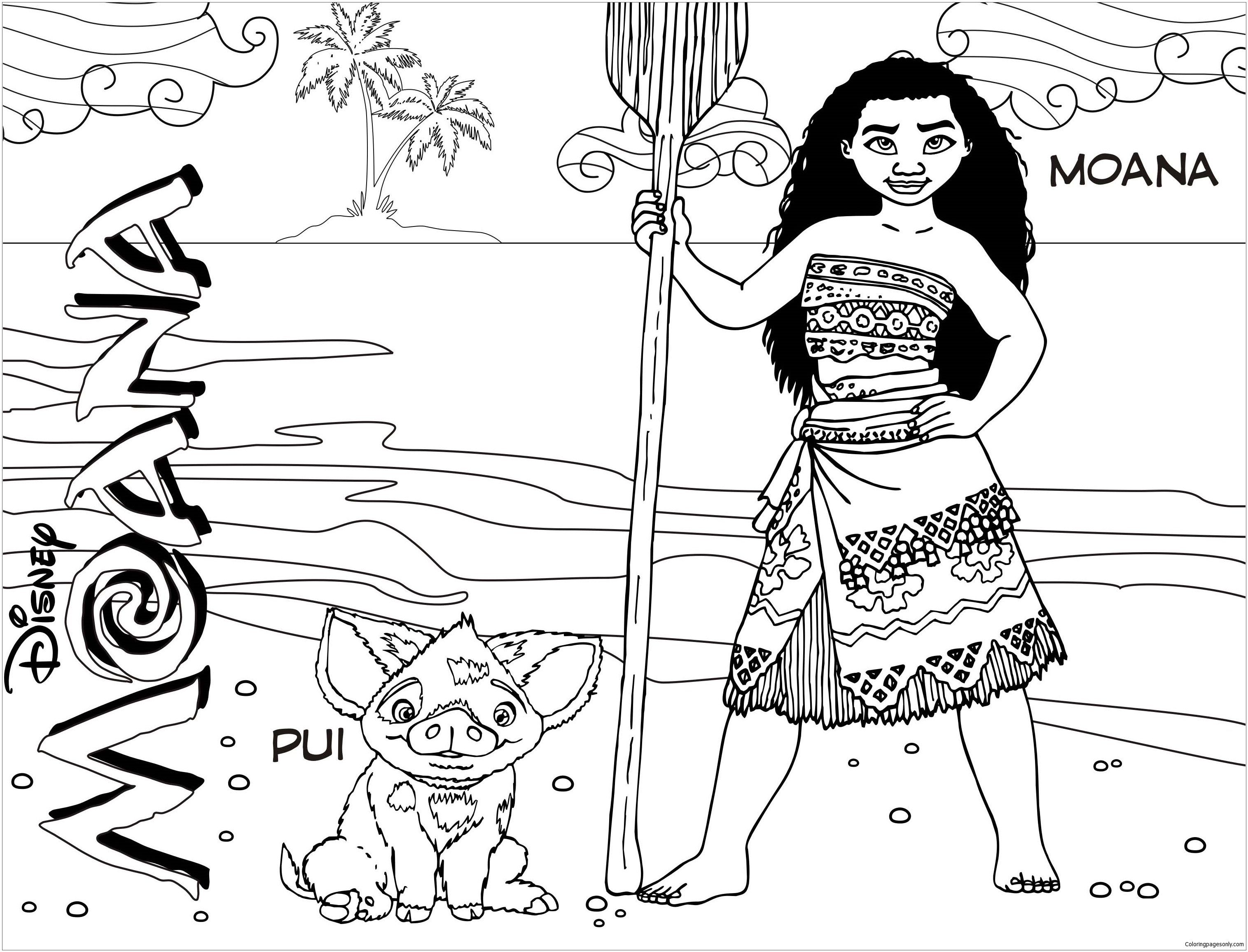 Moana And Pua 2 Coloring Page Free Coloring Pages Online