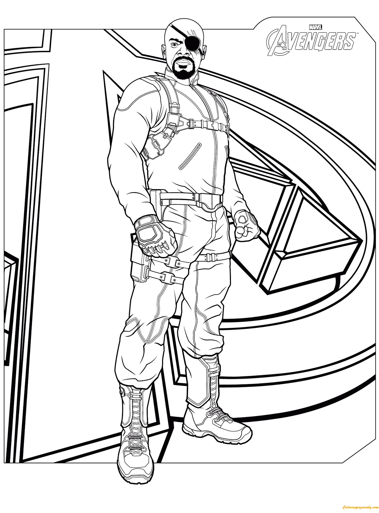 Nick Fury From Avengers Coloring Page Free Coloring Pages Online
