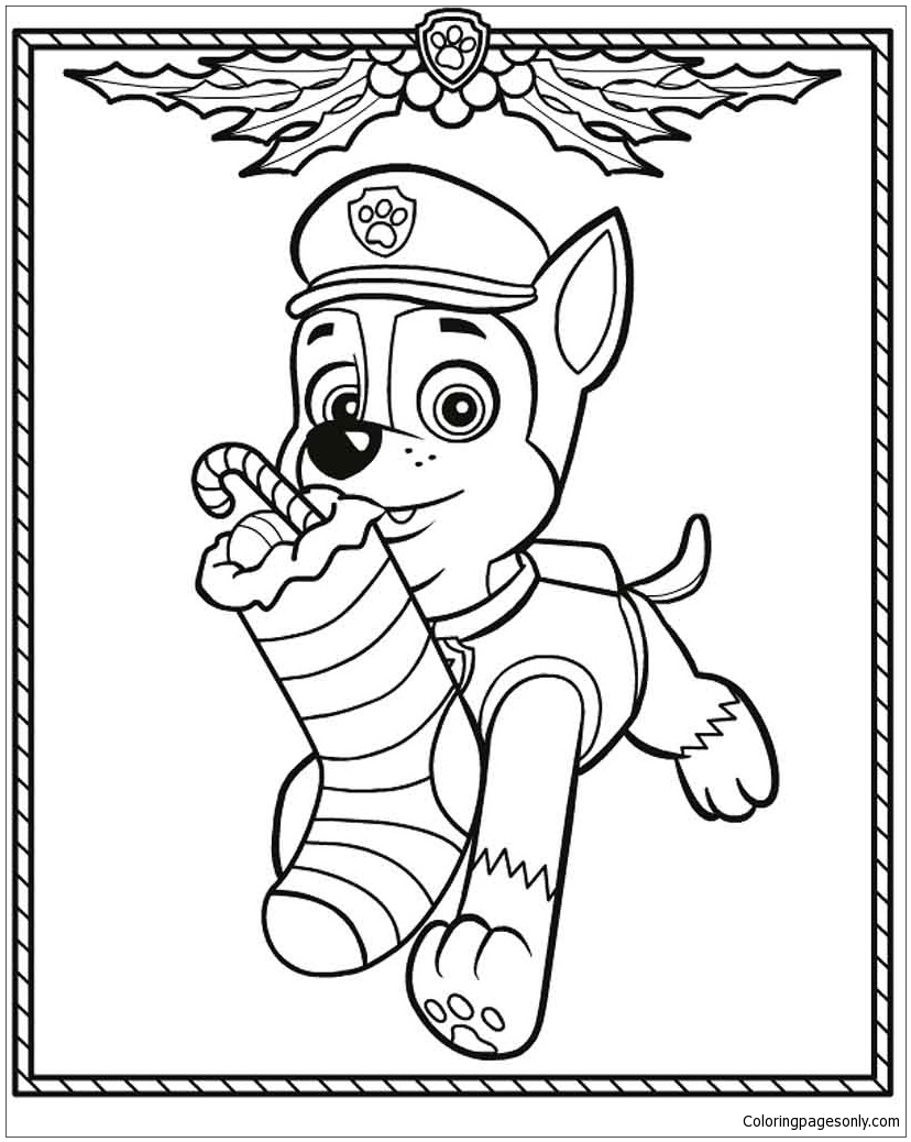 Paw Patrol Christmas Coloring Page Free Coloring Pages Online
