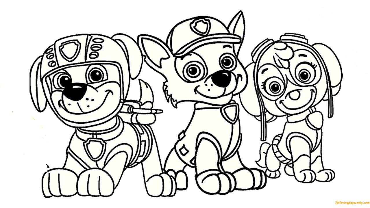 Paw Patrol Rocky Skye And Zuma Coloring Page Free Coloring