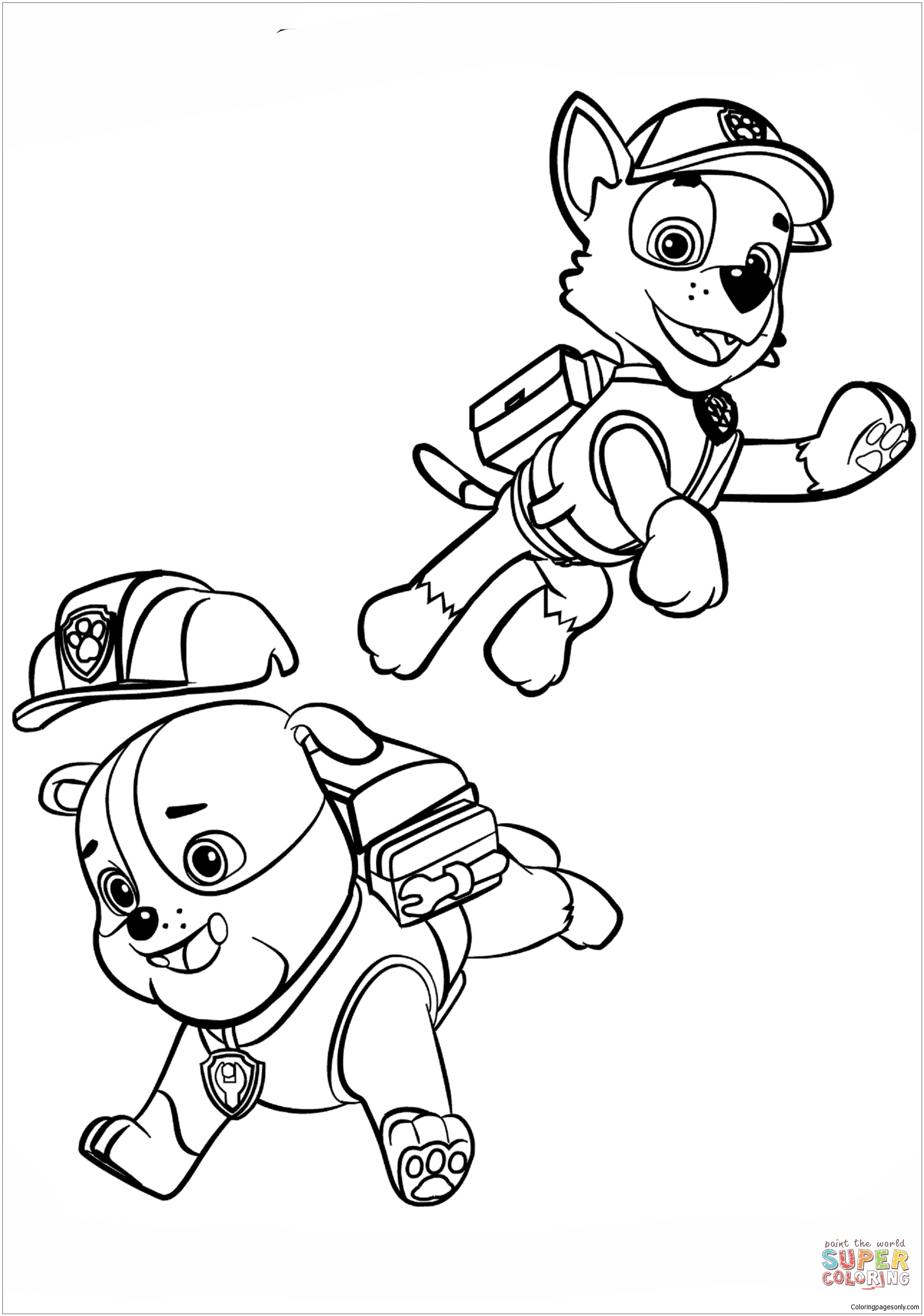 Paw Patrol Rubble And Rocky Coloring Page Free Coloring Pages Online