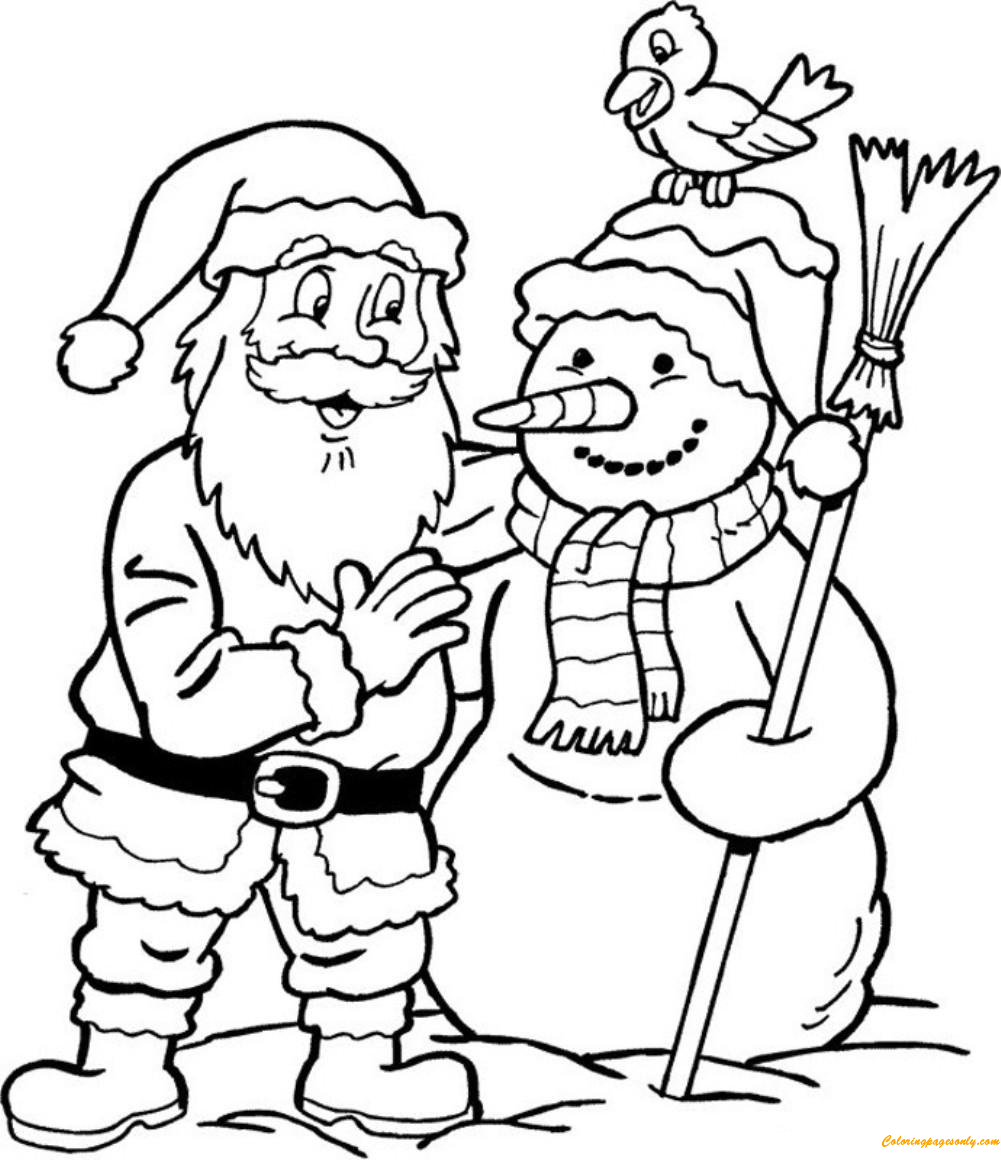 Snowman And Santa Claus Coloring Page Free Coloring Pages Online