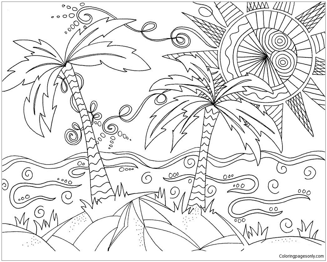 Sunny Beach Coloring Page Free Coloring Pages Online