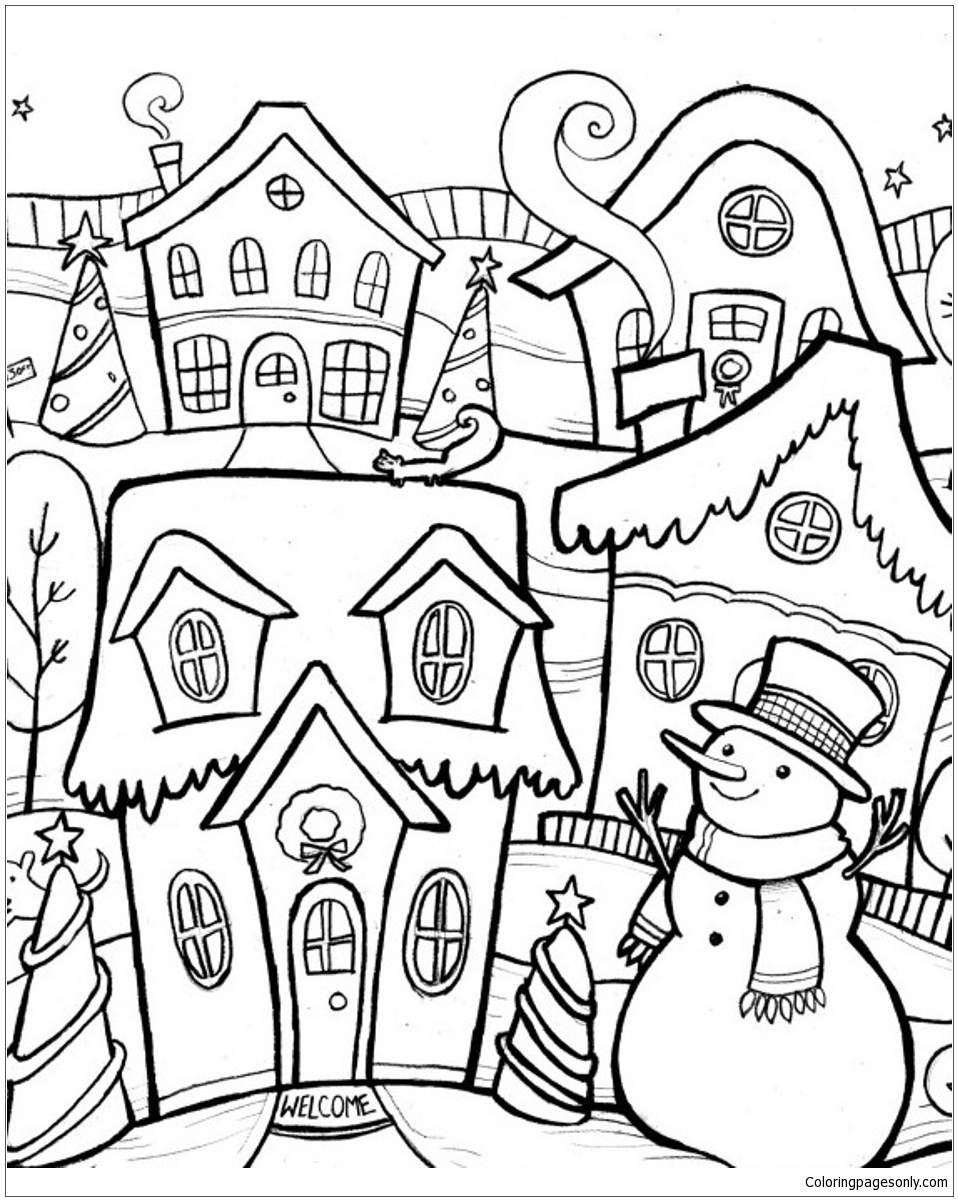 Village In Winter Coloring Page Free Coloring Pages Online