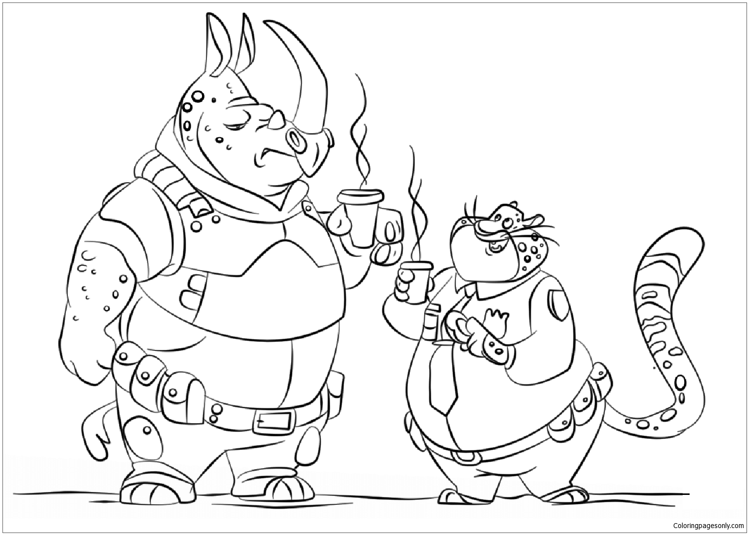 Zootopia Police Officer Coloring Page Free Coloring Pages Online