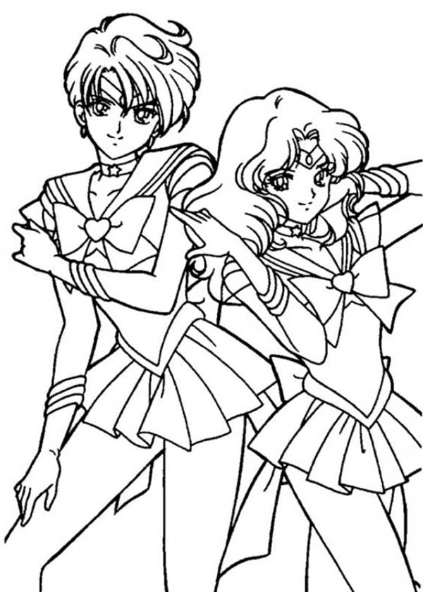 Sailor neptune and sailor mercury sailor moon coloring, jesus loves me coloring page
