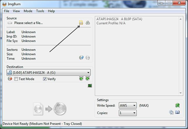 Запись образа Windows при помощи ImgBurn