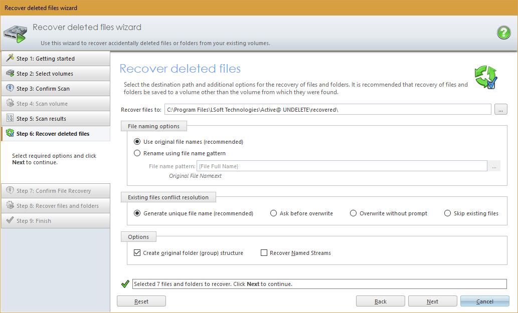 Жойылған файлдарды қалпына келтіру.