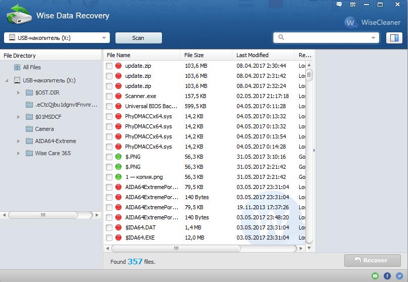 Даналар деректерін қалпына келтірудегі қалпына келтіру файлдарының тізімі