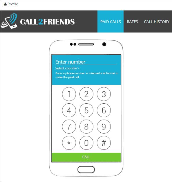 Phần thanh toán cuộc gọi trong cuộc gọi2Friends