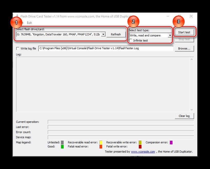 проверка при помощи USB Flash drive tester