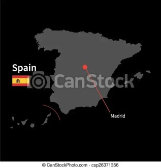 Detailed map of Spain and capital city Madrid with flag on black background Detailed map of Spain and capital city Madrid with flag on black background    csp26371356
