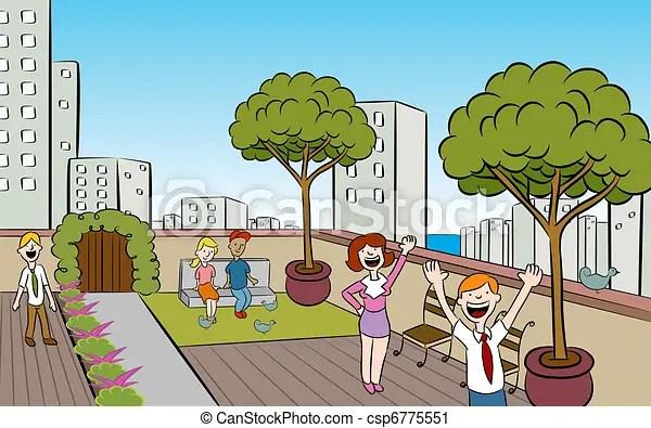 Vector Clip Art of Rooftop City Garden - People in a ...