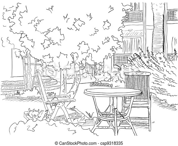 Clipart Vector of Cafe in the Garden. Vector illustration ...