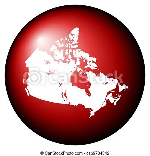 Red canada map button isolated on white background