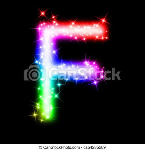 Colorful alphabet letter   f  3d rendered illustration of a glitter     colorful alphabet letter   F   csp4235289