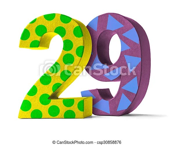 Colorful paper mache number on a white background - number 29.