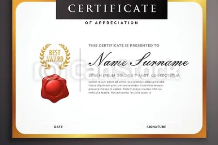 Elegant clean certificate template layout design with golden border  elegant clean certificate template layout design with golden border    csp42020628