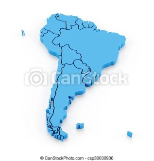 Extruded map of south america with national borders  3d render  Extruded map of south america with national borders   csp30030936