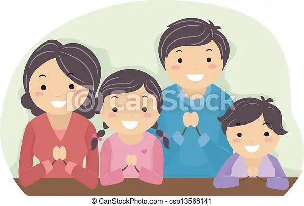 Illustration of a family praying together.