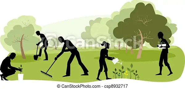 Gardening. Vector illustration of people working in the ...