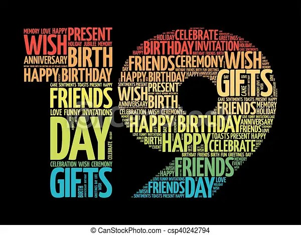 Happy 19th Birthday Word Cloud Collage Concept