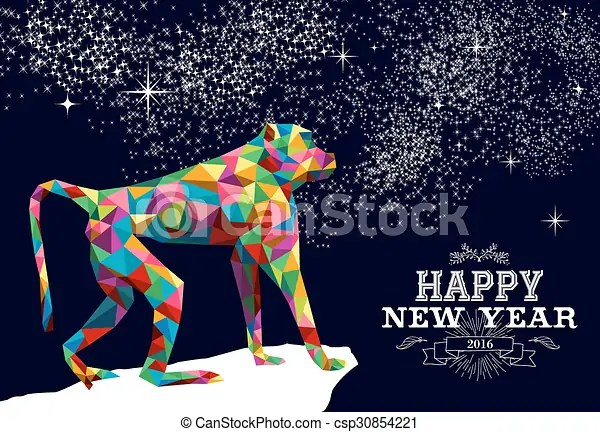 Happy chinese new year monkey 2016 triangle color  2016 happy     Happy chinese new year monkey 2016 triangle color   csp30854221