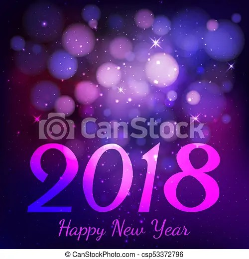 Happy new year 2018 with bokeh on dark purple color background     Happy new year 2018 with bokeh on dark purple color background     csp53372796