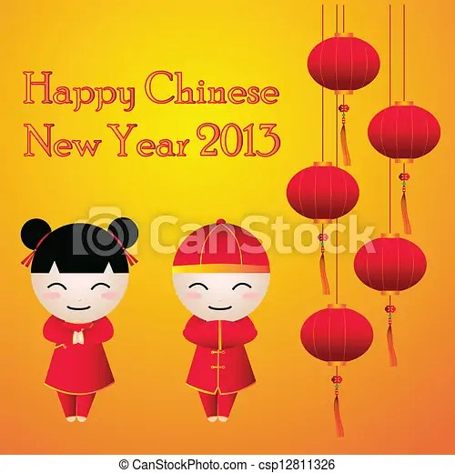 Lanterns happy new year  Cartoon of boy   girl greeting card chinese     Lanterns Happy new year   csp12811326