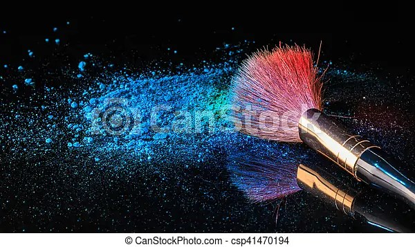 Makeup brush on professional cosmetic on background with colorful     Makeup brush on professional cosmetic on background with colorful powder  makeup  background
