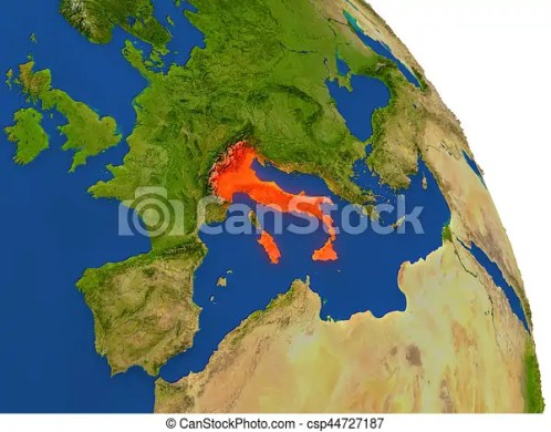 Map of italy in red  Map of italy with surrounding region on     Map of Italy in red   csp44727187