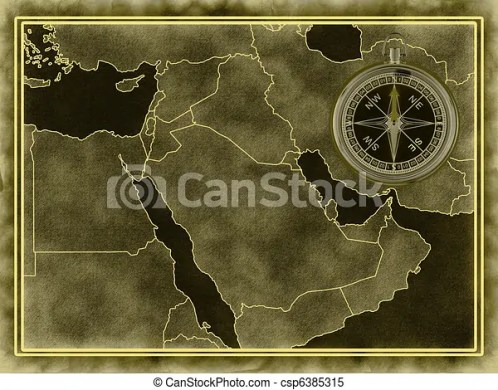 map of the middle east with a compass  Map of the Middle East   csp6385315