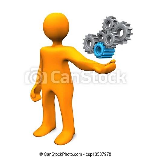 Mechanical Engineer Orange Cartoon Character As