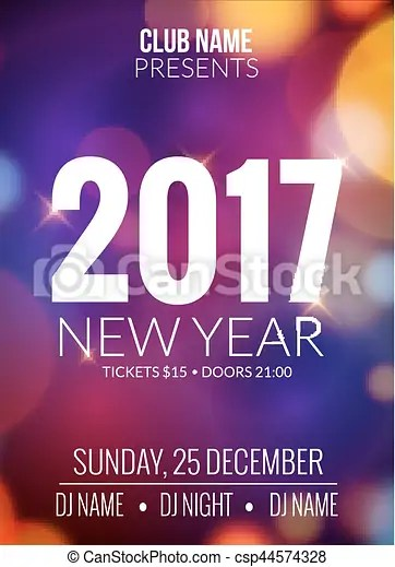 New year party design banner  event celebration flyer template bokeh     New year party design banner  event celebration flyer template bokeh  lights  new year festive poster invitation 2017