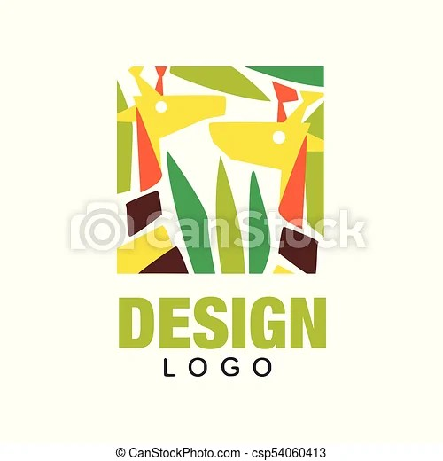 Image of: Mask Original African Animals Logo Design Template Abstract Giraffes In Jungles Leaves Colorful Vector Can Stock Photo Original African Animals Logo Design Template Abstract Giraffes In