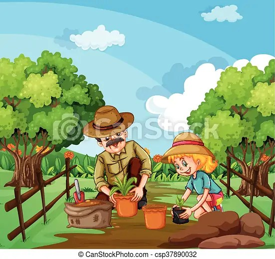 People planting tree in the garden illustration.