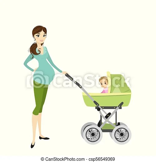 Pretty Young Pregnant Woman With A Pram And Baby Isolated On White Background Cartoon Vector