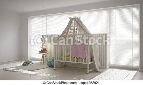 Scandinavian white child bedroom with canopy crib  minimal interior     Scandinavian white child bedroom with canopy crib  minimal interior design    csp44362921