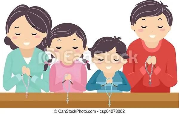 Stickman family pray rosary church illustration ...