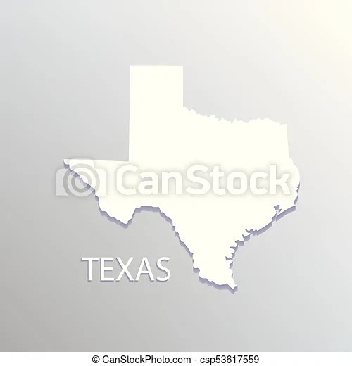 Texas white map  Texas state flat map on blue background vector icon  Texas white map   csp53617559