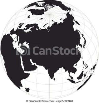 Vector earth globe focused on asia continent