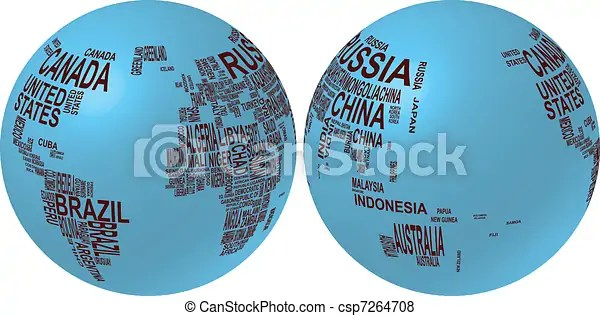 Illustration of world map globe with country name  world map globe with country name   csp7264708