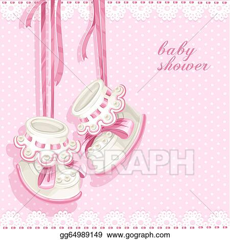 Vector Clipart Baby Shower Card With Pink Booties Vector Illustration Gg64989149 Gograph