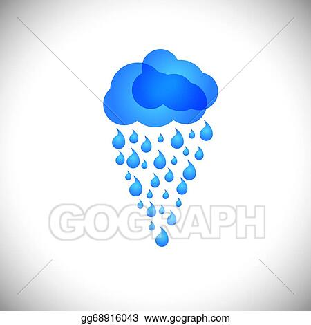 Eps Illustration Blue Clouds Amp Rain Vector Icon Sign Or Symbol On White Background This